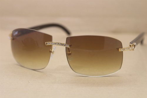 Vintage Cartier Rimless Big Diamond 4189705 Black Buffalo horn original Sunglasses In Gold Brown
