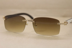 Cartier Big Diamond Rimless Glasses 8200759 Black Mix White Buffalo horn Rimless Sunglasses Genuine horn Sunglasses In Gold Brown
