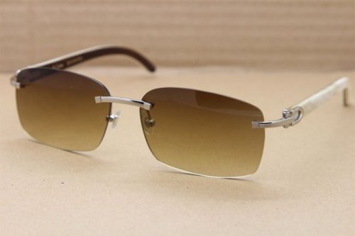 Hot Cartier CT 8200760 Rimless Black Mix White Genuine Natural Buffalo horn Sunglasses