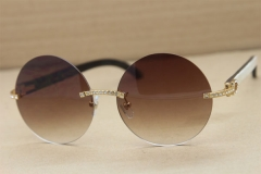 Cartier T3524012 diamond Rimless Original Black Mix White Buffalo Horn in Sunglasses Gold Brown or Silver Brown Lens Size:57