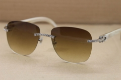 Cartier Rimless  Samll Diamond Sunglasses  T8300680 Original White Genuine Natural Sunglasses in Gold Brown Lens