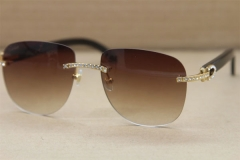 Cartier Rimless Samll Diamond Sunglasses T8300680 Original Black Buffalo Horn Sunglasses in Gold Brown Lens