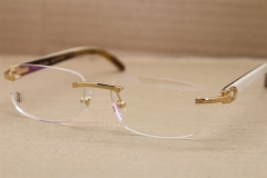 Cartier Rimless T8100864 Black Mix White Buffalo Horn Original Eyeglasses in Gold