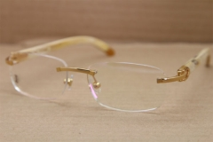 Cartier Rimless T8100864 White Genuine Natural Buffalo Horn Original Eyeglasses in Gold