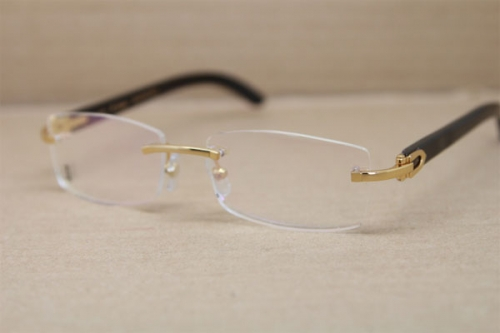 Cartier Rimless 3524012 Black Buffalo Horn Glasses in Gold