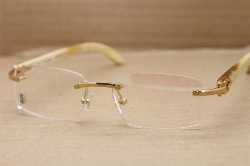Cartier Rimless T8100903 Rimless White Genuine Natural Buffalo Horn Optical in Gold