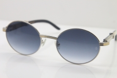 Wholesale Cartier 7550178 Black Mix White Genuine Natural Original Buffalo horn Sunglasses in Gold Brown Lens Size:55