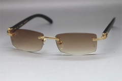 Cartier CT Black Buffalo Horn Rimless Sunglasses Gold Brown Lens Size:54