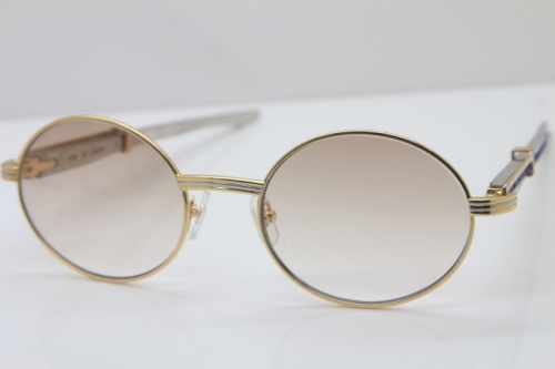 Cartier 7550178 luxury brand 18K Gold sunglasses Vintage Sun Glasses Original Stainless Steel Blue Smaller/Big Stones Sunglasses in Gold Brown Lens