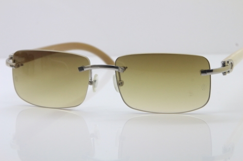 Wholesale High-end brand Cartier 3524012 Rimless Sun Glasses White Genuine Natural Sunglasses in Gold Brown Lens Hot