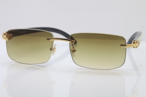Hot Cartier CT 8200757 Rimless Sun Glasses Original White Inside Black Buffalo Horn Sunglasses 8200758 Gold Brown Lens