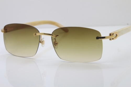 Wholesale Cartier CT 8200759 18K Gold Rimless Sun Glasses White Genuine Natural Sunglasses 8200760 Gold Brown Lens