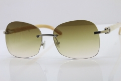 Wholesale High-end brand Carter T8100908 Original Rimless White Genuine Natural Horn T8100907 Sunglasses In Silver Brown Lens