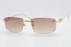 Wholesale High-end brand Cartier Rimless Original White Genuine horn CT3524012A Sunglasses in Gold Brown Lens Size:56 Hot