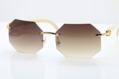 Wholesale High-end brand Carter T8307002 Original Rimless White Genuine Natural Horn Sunglasses in Gold Brown Lens Hot