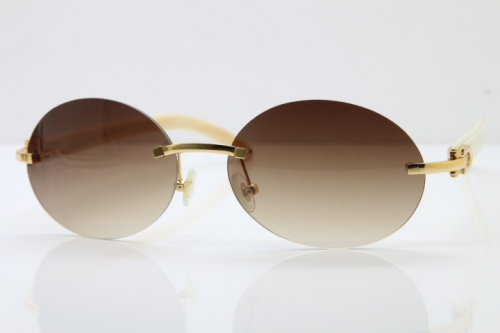 Wholesale High-end brand Carter T8307003 Rimless Original White Buffalo Horn luxury brand Sunglasses in Gold Brown Lens