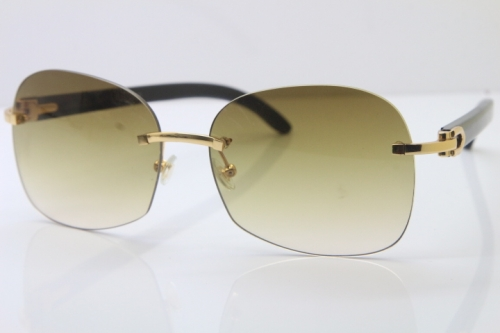 Wholesale High-end brand Carter T8100907 Rimless Original Black Buffalo Horn Sunglasses In Gold Brown Lens