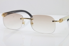 Wholesale High-end brand Carter Original Rimless T8100624 Black Mix White Buffalo Horn sunglasses 18k gold in Gold Brown Lens Hot