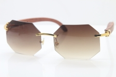 Rimless Hardware Wholesale High-end brand Carter T8307002 Original Rimless Wood Sunglasses in Gold Brown Lens Hot
