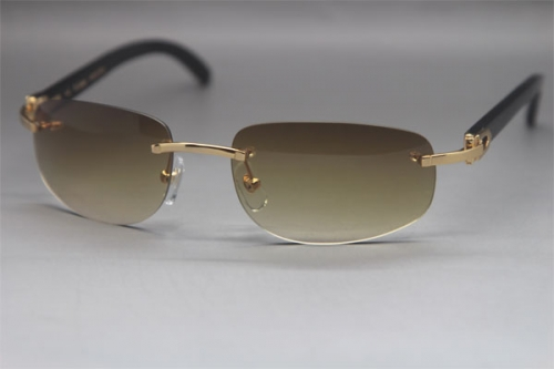 Wholesale High-end brand Cartier Rimless Original Black Buffalo Horn 3524011 Sunglasses In Gold Brown Lens