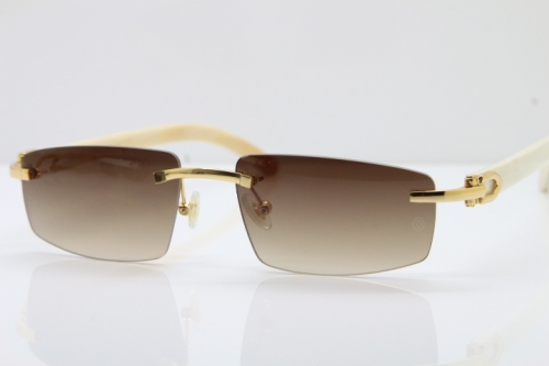 Wholesale High-end brand Carter T8100926 Rimless White Buffalo Horn Sunglasses in Gold Brown Lens Hot