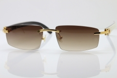 Wholesale High-end brand Carter T8100926 Rimless Black Mix White Buffalo Horn Sunglasses in Gold Brown Lens Hot
