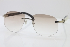 Wholesale High-end brand Cartier T8100928 Rimless Black Mix White Buffalo Horn Sunglasses in Gold Brown Lens Hot