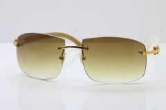 wholesale Larger Hot 4189705 Rimless White Buffalo Horn  Sunglasses in Gold Brown Lens