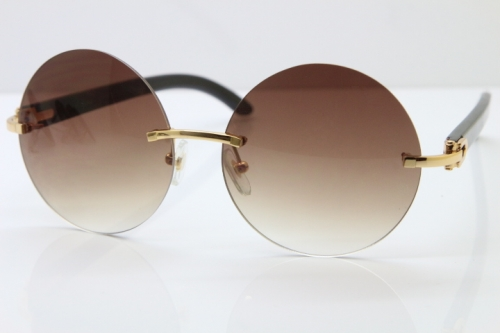 Round Hot Brand Hot CT3524012 Rimless Black Buffalo Horn Sunglasses in Gold Brown Lens Size:57