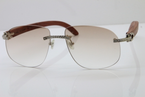 Cartier Rimless Smaller Big Stones T8100928 Wood Sunglasses in Silver Brown Lens