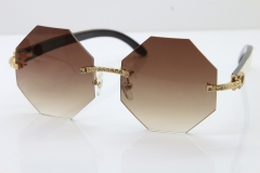 Cartier Rimless Smaller Big Stones 4189706 White Black Buffalo Horn Sunglasses in Gold Brown Lens
