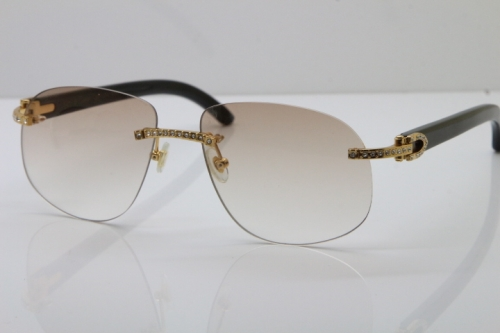 Cartier Rimless Smaller Big Stones T8100928 Original Black Buffalo Horn Sunglasses in Gold Brown Lens