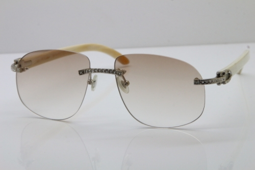 Cartier Rimless Smaller Big Stones T8100928 White Buffalo Horn Sunglasses in Silver Brown Lens Limited edition