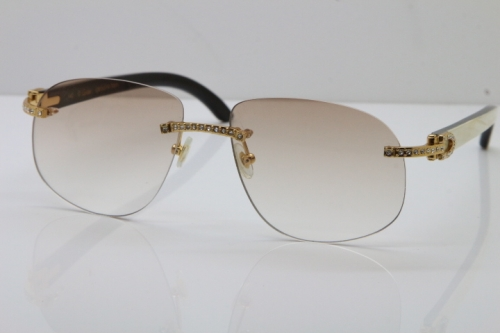 RCartier Rimless Smaller Big Stones T8100928 Original Black Mix White Buffalo Horn Sunglasses in Gold Brown Lens Limited edition