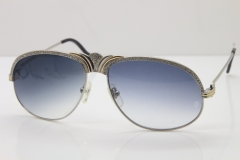 Cartier Crown Diamond 1112530 Original Sunglasses In Silver Gray Lens