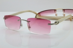Cartier Rimless 8200758 SunGlasses Original White Genuine Natural Horn Sunglasses in Silver Pink Lens