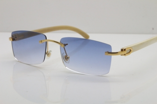 Cartier Rimless 8200757 SunGlasses Original White Genuine Natural Horn Sunglasses in Gold Blue Lens