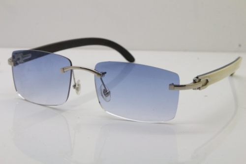 Cartier Rimless 8200758 SunGlasses Original White Inside Black Buffalo Horn Sunglasses in Silver Blue Lens