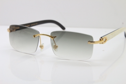 Hot Cartier Rimless 8200757 Original White Inside Black Buffalo Horn Sunglasses In Gold Light green Lnes