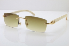 Hot Cartier Rimless 8200757 Original White Genuine Natural Horn Sunglasses In Gold Brown Lnes