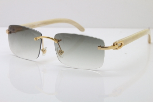 Cartier Rimless 8200757 Original White Genuine Natural Horn Sunglasses In Gold Light green Lens