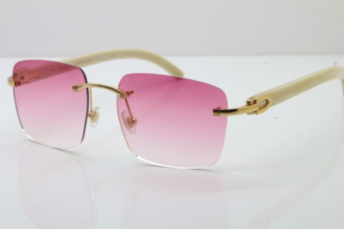 Cartier Rimless Original White Genuine Natural Horn T8300816 Sunglasses in Gold Pink Lens Hot