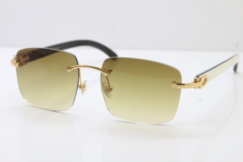 Cartier Rimless Original White Inside Black Buffalo Horn T8300816 Sunglasses in Gold Brown Lens Hot