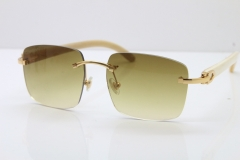 Cartier Rimless Original White Genuine Natural Horn T8300816 Sunglasses in Gold Brown Lens Hot