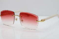 Cartier Rimless Aztec Arms 8300816 Carved Lens Sunglasses In Gold Red Lens
