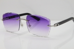 Cartier Rimless Aztec Arms 8300816 Carved Lens Sunglasses In Silver Purple Lens