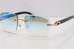 Cartier Rimless Original Black Flower Buffalo Horn 8300816 Sunglasses In Gold Ice Blue Carved Lens