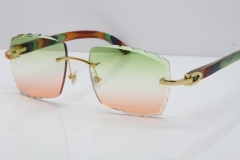 Cartier Rimless 8300816 Original Peacock Wood Sunglasses In Gold Green Mix Brown Carved Lens