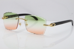 Cartier Rimless 8300816 Original Black Buffalo Horn Sunglasses In Gold Green Brown Carved Lens