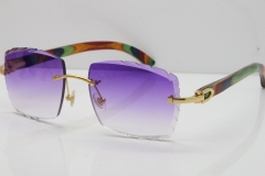 Cartier Rimless 8300816 Original Peacock Wood Sunglasses In Gold Purple Carved Lens